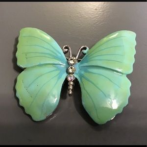 Jewelry - Hand-painted butterfly brooch w/ crystal accents